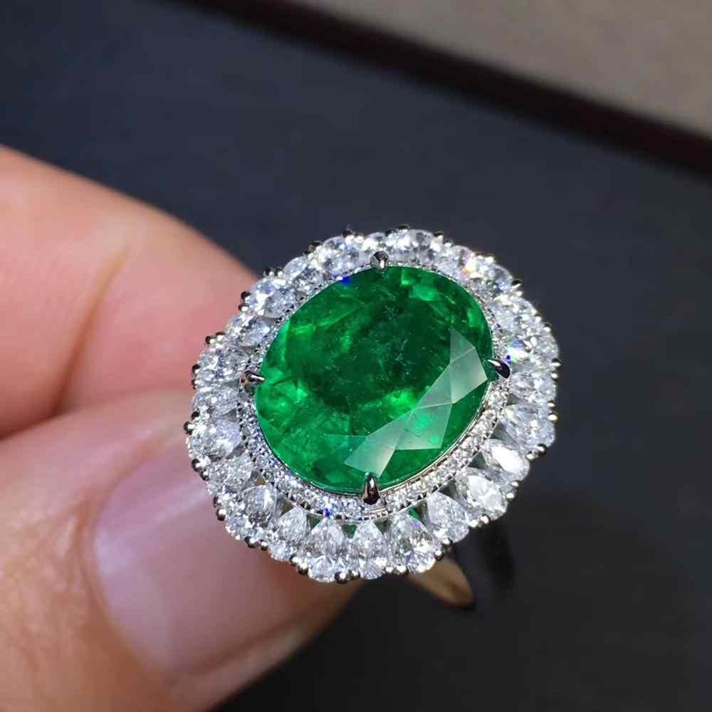 GRS โคลอมเบียเครื่องประดับ G18k แหวนเพชร 18 K Gold Emerald อัญมณี 4.04 กะรัตแหวนสำหรับผู้หญิงแหวน