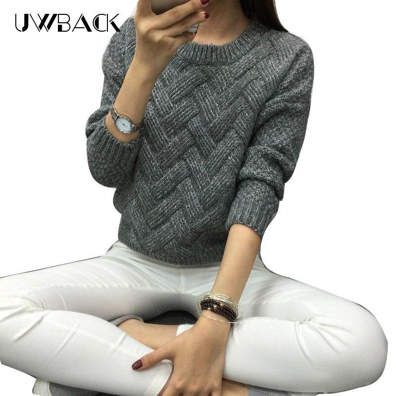 Dámská móda 2018 Pánská svetr základní jednoduchá pletení zimní Pullover Ženské teplé šedé / Khaki svetr Twist Pattern, KB911