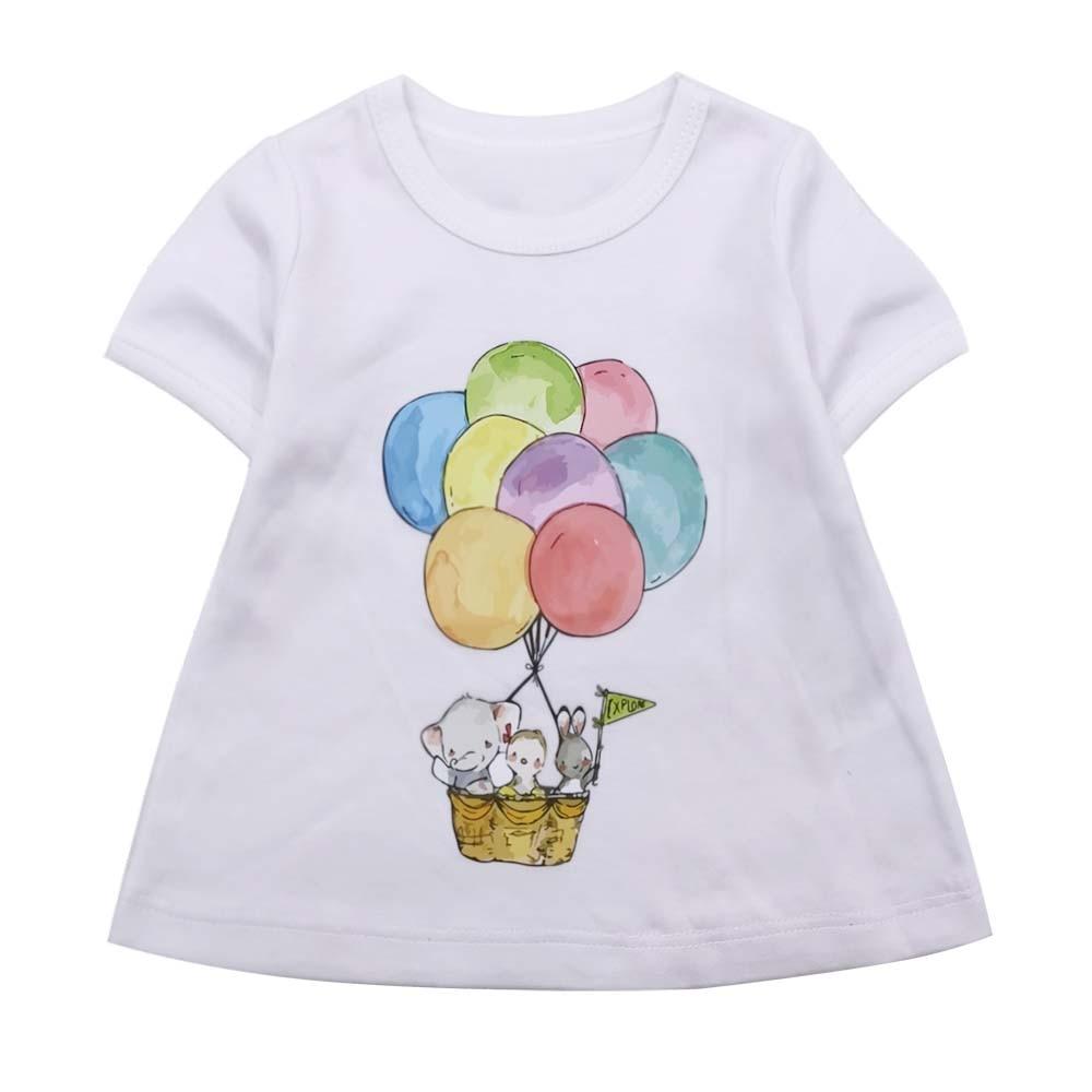 Children Girl Clothes T-shirt Balloon Printed Short Sleeved Cotton Baby Clothing T-shirt New Summer Tee Top Girls
