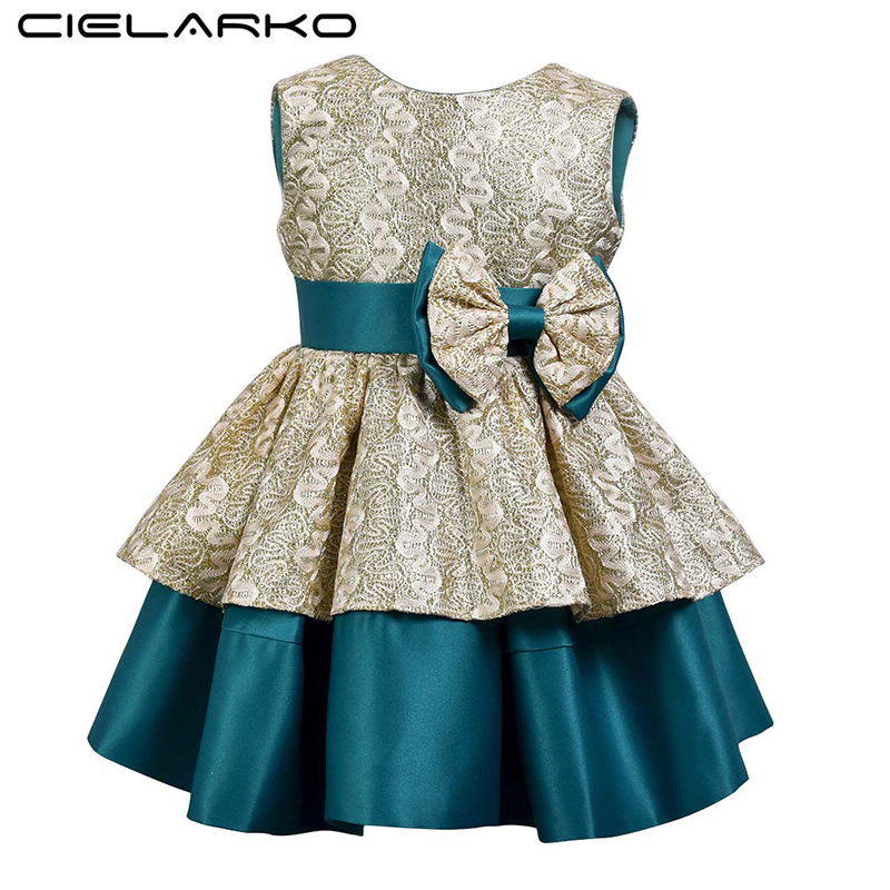 70ce724b06e Cielarko Elegant Girls Party Dress Formal Princess Ball Gown Vintage Bow  Kids Wedding Birthday Dresses 2018