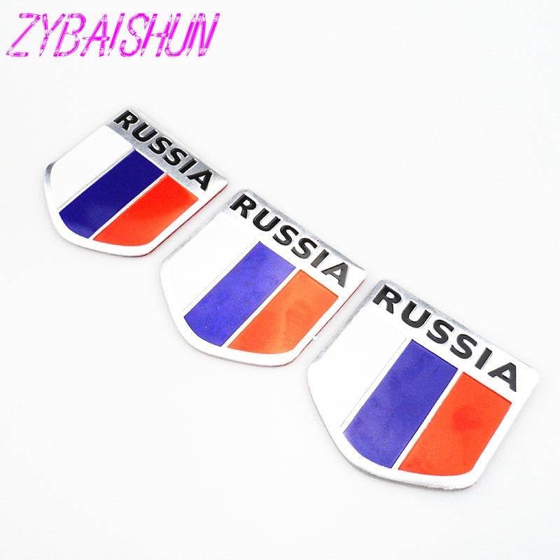 2018 High Quality 3D Aluminum Flag Russia Car Sticker