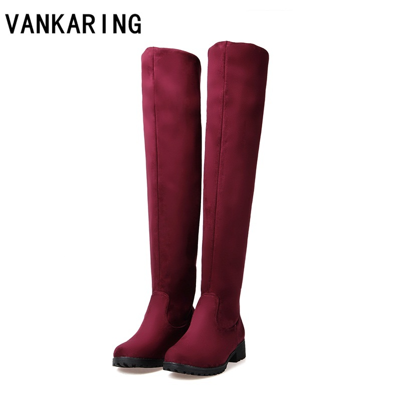 VANKARING autumn winter boots woman fashion skinny stretch classic women's sexy black red blue over the knee high boots big size knee rips skinny jeans