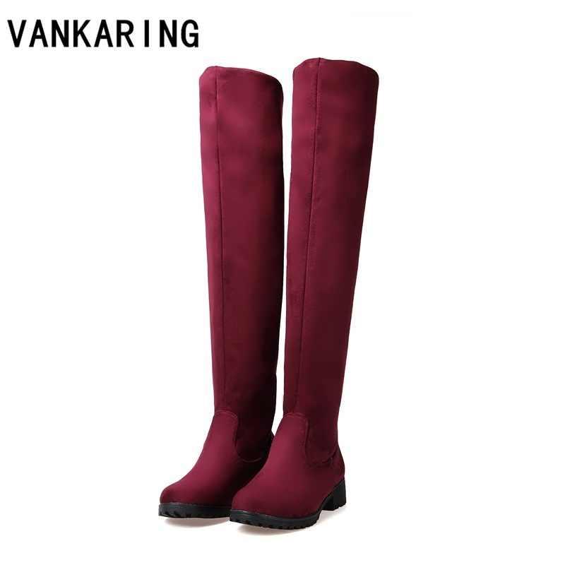 VANKARING ฤดูใบไม้ร่วงฤดูหนาวรองเท้าแฟชั่นผู้หญิง skinny ยืดผู้หญิงเซ็กซี่สีดำสีแดงสีฟ้าเข่ารองเท้าบูทสูงขนาดใหญ่