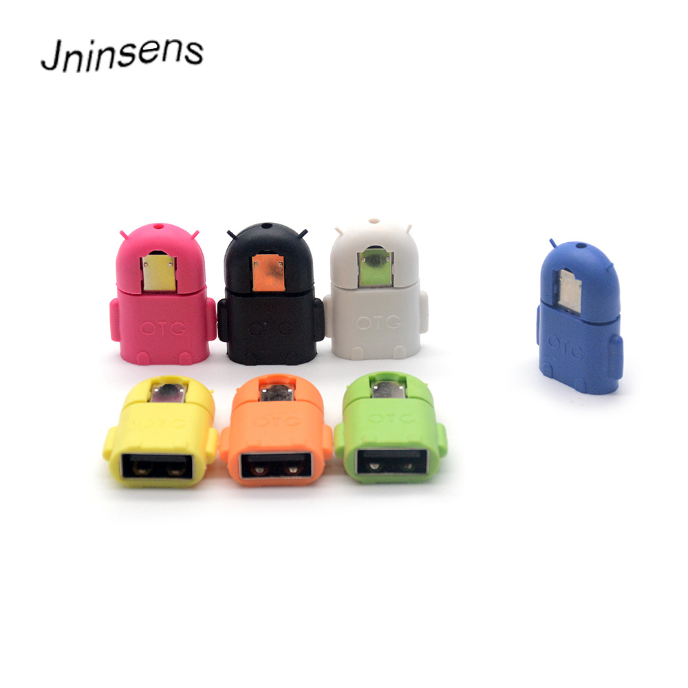 Wholesale Portable Multi Color Robot Shape Android Micro USB To USB Converter OTG Adapter For Android Tablet PC Smart Phone
