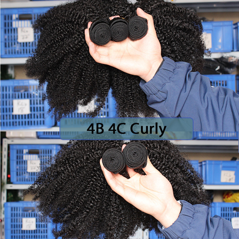 Mongolian Afro Kinky Curly Weave 4B 4C 100% Natural Virgin Black - Cabello humano (negro) - foto 4