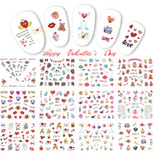 12 Designs Nail Art Sticker Valentine Design Water Transfer Decal Mixed Rose Heart Love Letter For Nails Tattoo Tool TRBN733-744(China)