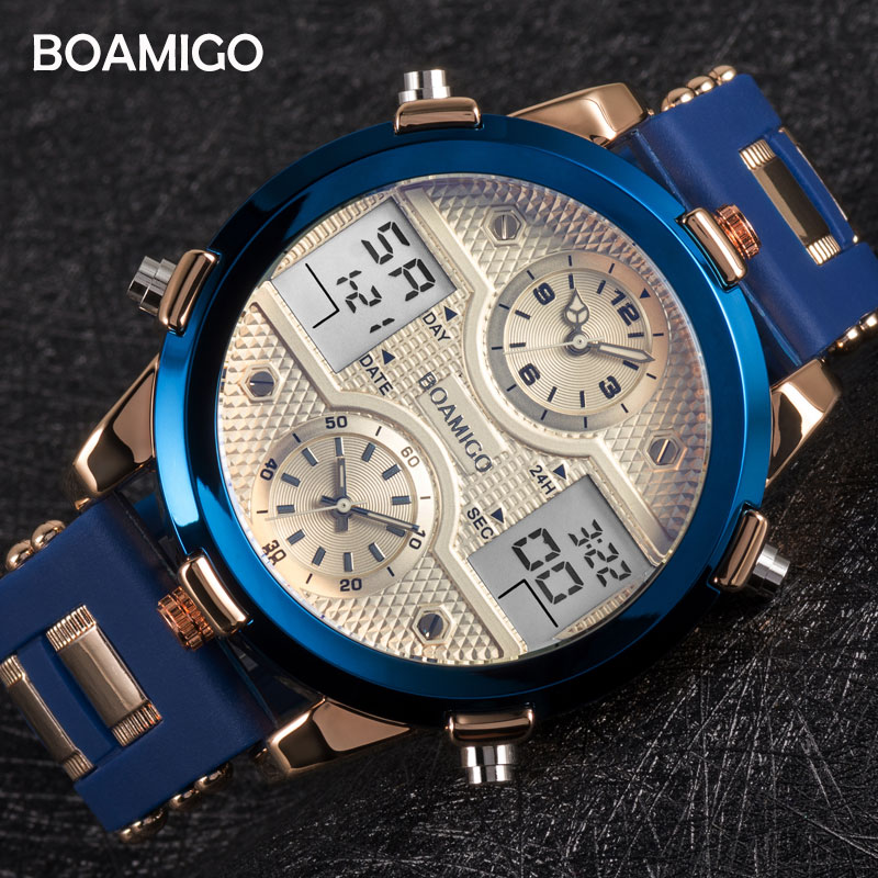 BOAMIGO Mens Watches Top Luxury Brand Men Sports Watches Men 39 s Quartz LED Digital 3 Clock Male Gold Blue Military Wrist Watch in Quartz Watches from Watches