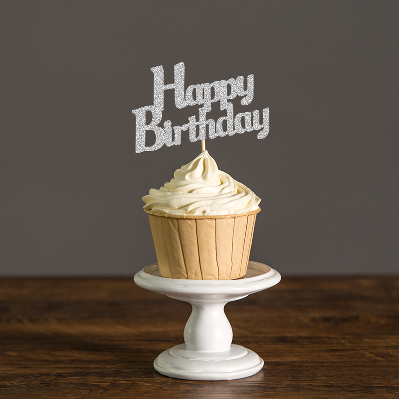 Gold/Silver/Black Glitter Script Happy Birthday Cupcake Toppers