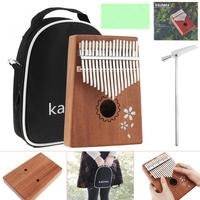17 Keys Wood Kalimba Single Board Mahogany Sakura Inlay Thumb Piano Set Mbira Mini Keyboard Instrument with Bag