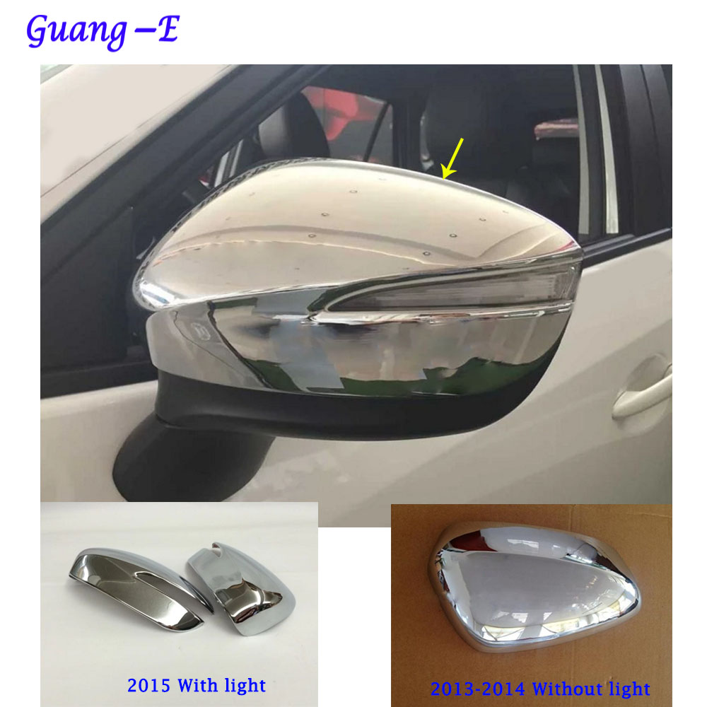 მანქანის ABS ქრომის დეკორაცია უკანა ხედს უკანა ხედზე Rearview გვერდითი მინის Mirror Cover მორთვის ჩარჩო Mazda CX-5 CX5 2013 2014 2015 2016