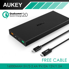 Aukey 16000mAh Power Bank Quick Charge 2.0 Portable Charger Battery Dual Output Fast Charge External Battery Universal +2 Cables