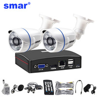 Smar 4CH 1080N 5 in 1 AHD DVR Kit CCTV System 2PCS 720P/1080P AHD Camera Indoor Outdoor Day & Night Security Camera Kit P2P Free
