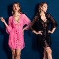 Новое поступление 2 шт. женщины пижамы Гостиная халат устанавливает прозрачный шифон твердые Халат женская Одежда Ночная Рубашка Пижамы 3 цвета