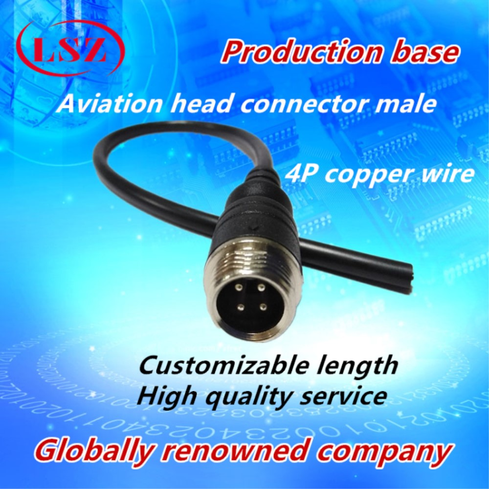 LSZ  Wholesale 4 Core M12 Aviation Male And Female Head Tail Line 4P Aviation Plug Line Truck Monitoring Camera Connector Line