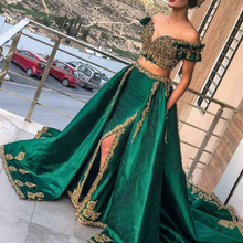 green prom dresses 2019 two pieces lace appliques beading sequins side slit evening arabic