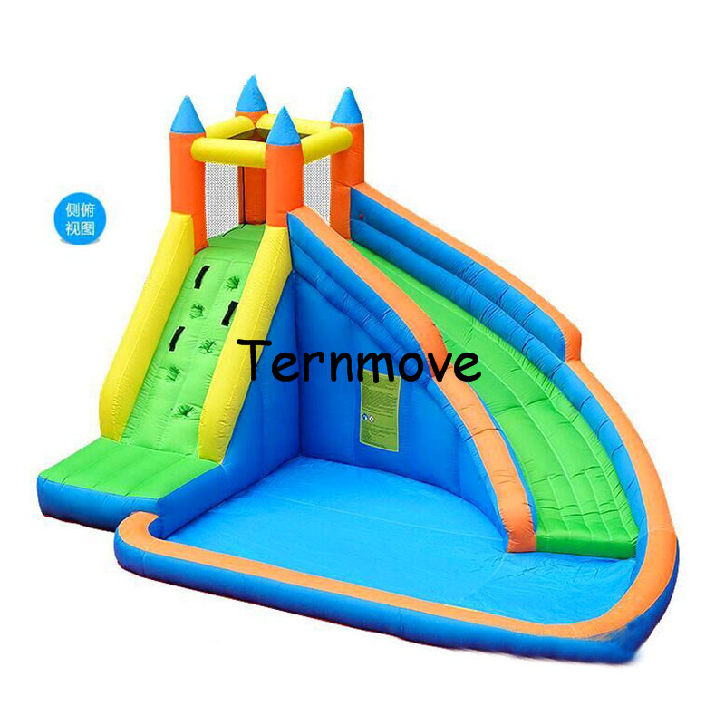 inflatable slide pool, nylon water slide for kids indoor and outdoor inflatable slide with pool indoor nylon caslte bouncer children shark blue inflatable water slide with blower for pool
