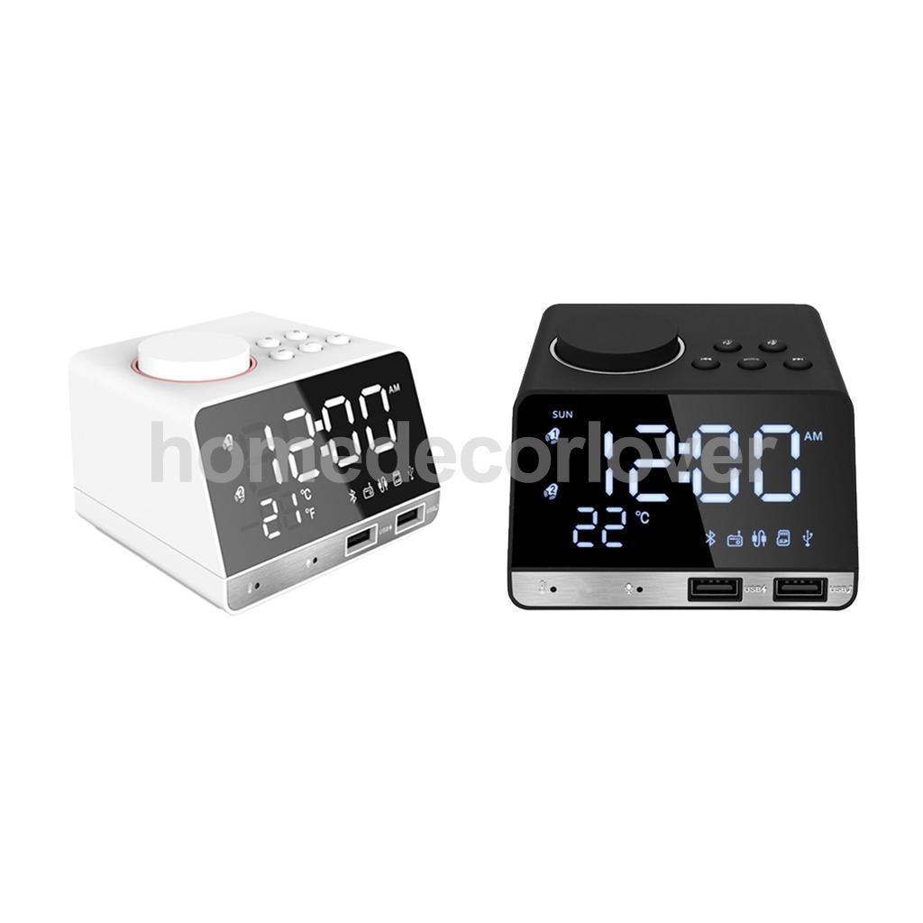 LED Miroir Réveil Numérique Snooze Horloge de Table Bluetooth Radio Horloge Électronique Grand Temps Affichage de La Température US Plug