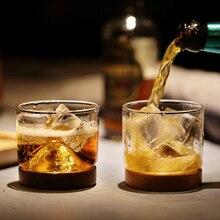 Высший сорт со вкусом Хрустальный виски стекло с черный орех поддон вогнутый вулкан Shot бокал вина es антифриз ручной