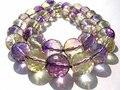 Настоящий кристалл Аметрин Кварц 8 мм 16 дюймов нитка  высокое качество круглый шар фиолетовый желтый рок ювелирные бусы