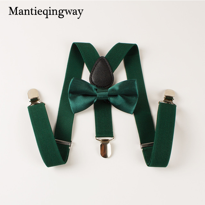 Mantieqingway Bowtie Boys Kid Suspender Y-Back Justerbar Elastic Child Suspenders Bow Tie Set Bröllop Belt Strap Shirts Brace