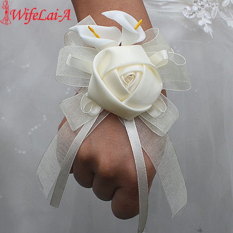 Wifelai-a 1pcs/lot Ivory Silk Rose Flowers PE Calla Lily Wrist Flowers Bride Ribbon Wedding Corsage Hand Flowers Ivory Color