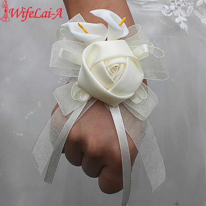 Wifelai-a 2pcs/lot Ivory Silk Rose Flowers PE Calla Lily Wrist Flowers Bride Ribbon Wedding Corsage Hand Flowers Ivory Color