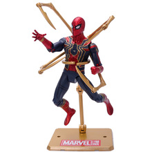 Marvel Avengers Hero Spiderman Toy Doll Model Movie Action Model Pvc With Bracket Decoration Children Gift For Children 8 different style black and red spiderman action figures fan collections mini fun model landscape fleshy doll gift for children