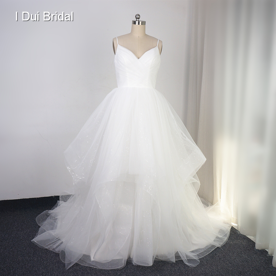 Sequin Wedding Gown: Aliexpress.com : Buy Spaghetti Strap Tiered Wedding Dress