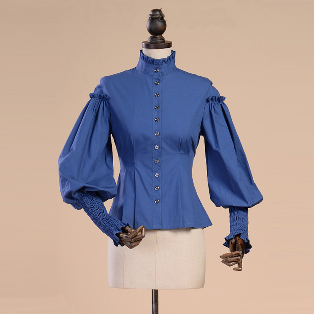 New Spring Summer Women Prom Cotton Shirt Leg of Mutton Sleeve Vintage Gothic Blouse female Casual Slim White Blue Shirts kiind of new blue women s xl geometric printed sheer cropped blouse $49 016