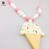 Let S Make Baby Teething Necklace Silicone Beads Can Chew Ice Cream DIY Jewelry Pram Toy
