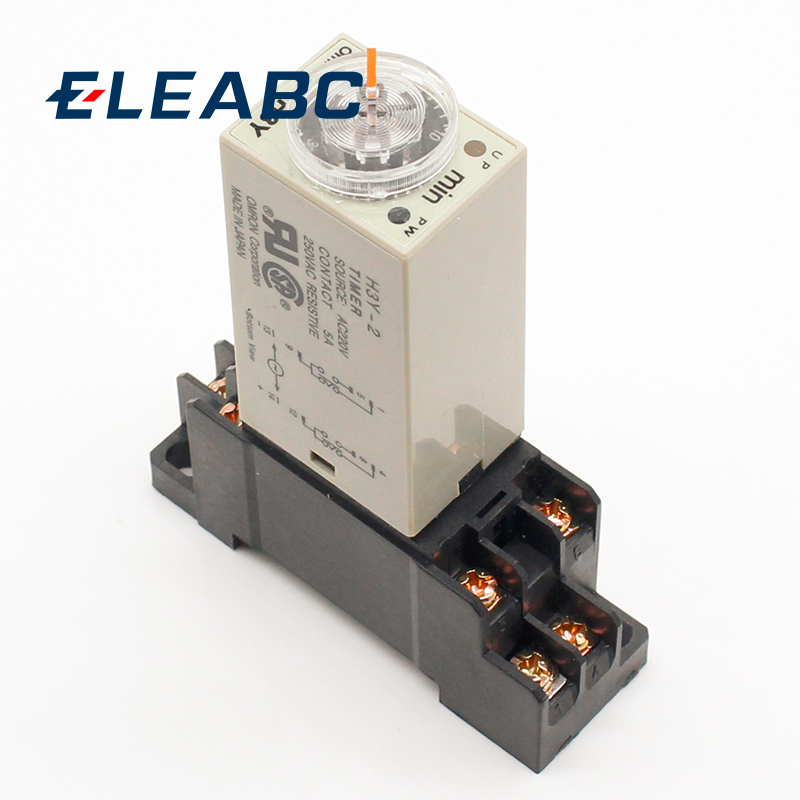 1pcs H3Y-2 AC 220V Delay Timer Time Relay 0 - 30 Minute/Seconds with Base