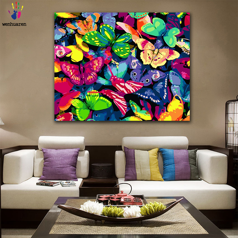 DIY Coloring Paint By Numbers Colorful Flower Butterfly Ocean Figure Paintings By Numbers With Kits 40x50 Framed
