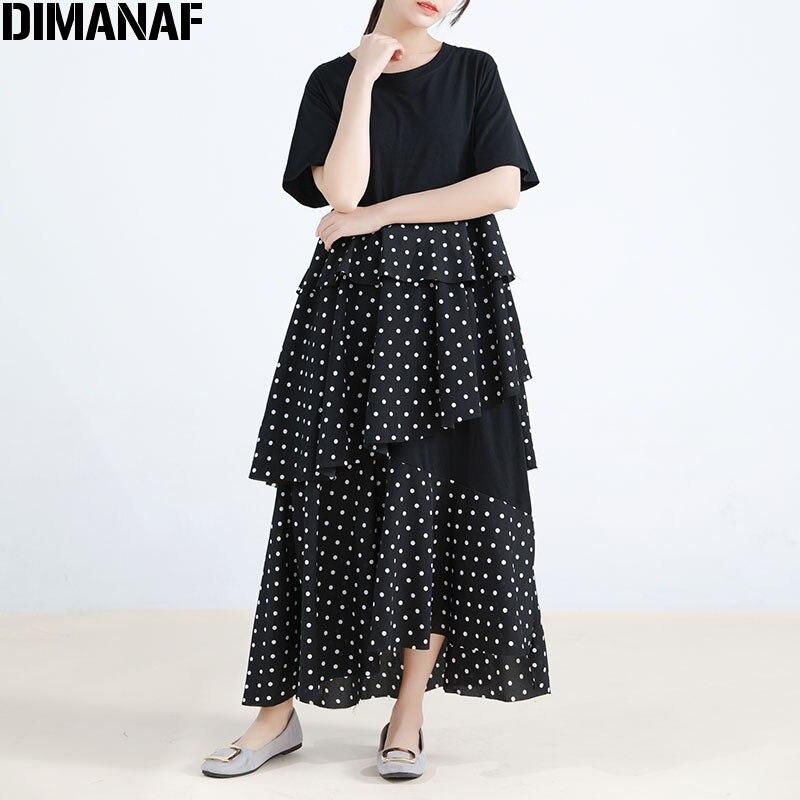 DIMANAF женское платье большого размера шифон Eleagnt кружевной плетёный черный горошек лето большой размер женские платья свободные длинные пла...