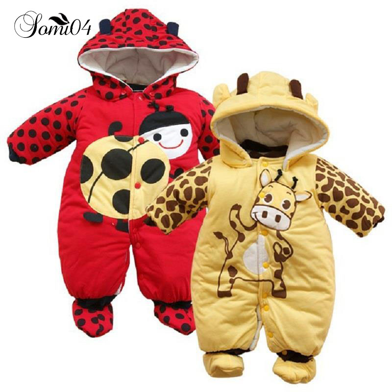 2018 New Fashion Newborn Baby Warm Clothing Winter Boys Coat Cute Cartoon Cow Cotton Padded Baby Infant Girls Jumpsuit Romper puseky 2017 infant romper baby boys girls jumpsuit newborn bebe clothing hooded toddler baby clothes cute panda romper costumes