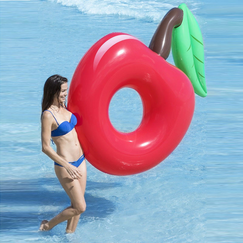 120cm Giant Inflatable Cherry Pool Float Red Beach Lounger Air Mattress Adult Swimming Ring Water Summer Party Toys boia Piscina