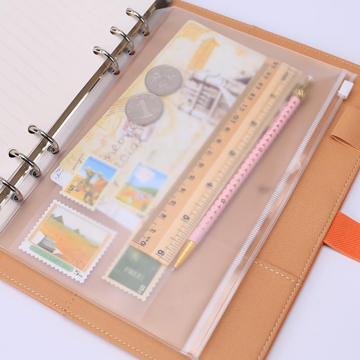 1 Pcs A5 A6 A7 Storage Bag School Supply Transparent Loose Sheet Notebook Zipper Self-sealing File Card Holder Document Bag