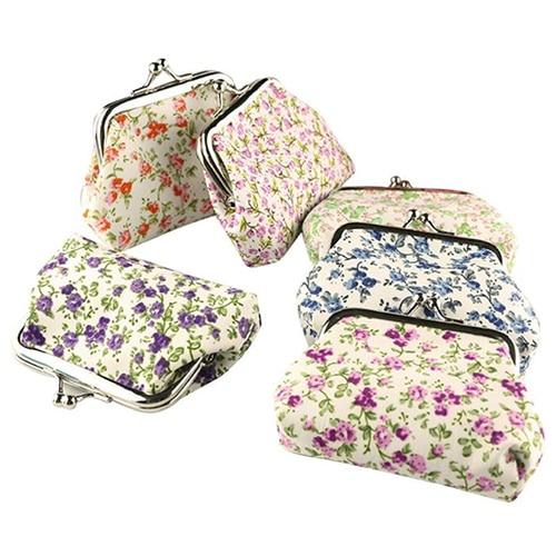 5 Pcs of (VSEN Hot Women Lady Retro Vintage Flower Small Wallet Hasp Purse Clutch Bag)