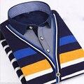 Plus Size L-4XL Fashion Men Winte Thick Warm Shirt Men's Striped Plaid Casual Patchwork Shirt Camisa Fit Masculina Chemise Homme