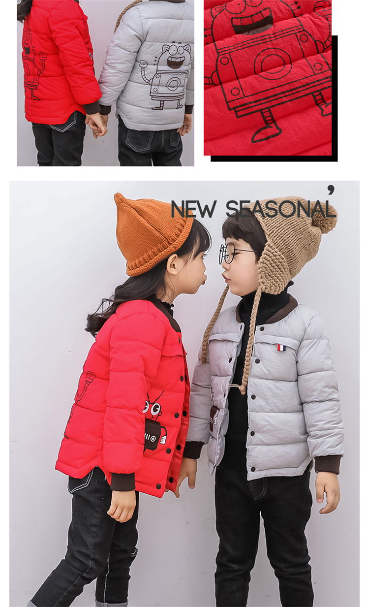 2018 Baby Boys Children Outerwear Coat Kids Jackets For Boy Girls Winter Jacket Warm Hooded Children Clothing Gray Khaki Red (12)