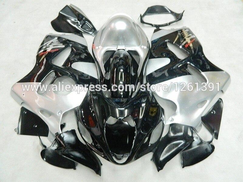 Инъекция для SUZUKI Hayabsa GSXR1300 GSX-R1300 серебристый, черный GSXR 1300 96 97 98 99 00 01 02 03 04 05 06 07 обтекателя