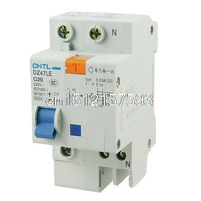 цена на DZ47LE 1 Pole Miniature ELCB Earth Leakage Circuit Breaker AC 220V 20A