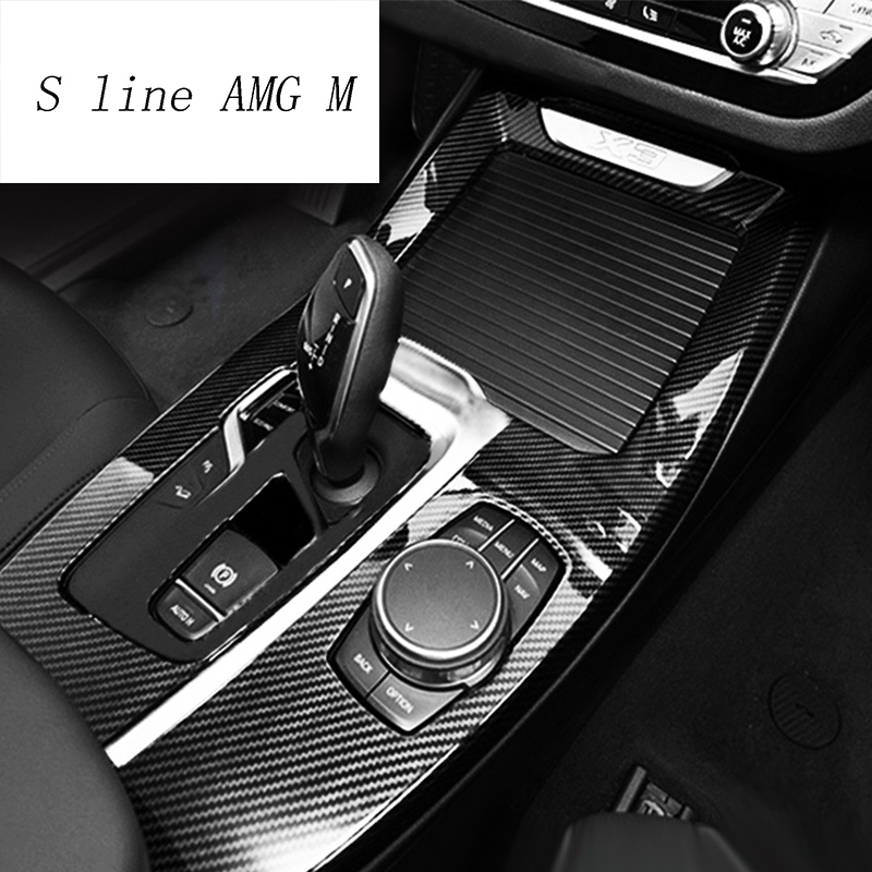 Car Styling Gear Shift Panel Covers Trim Console Water cup Decoration Strip Stickers for <font><b>BMW</b></font> <font><b>X3</b></font> G01 X4 Auto Interior <font><b>Accessories</b></font> image