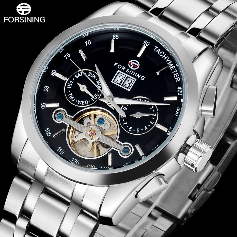 ФОТО 2017 FORSINING luxury brand watches men stainless steel Mechanical automatic self wind tourbillion wristwatches date week month