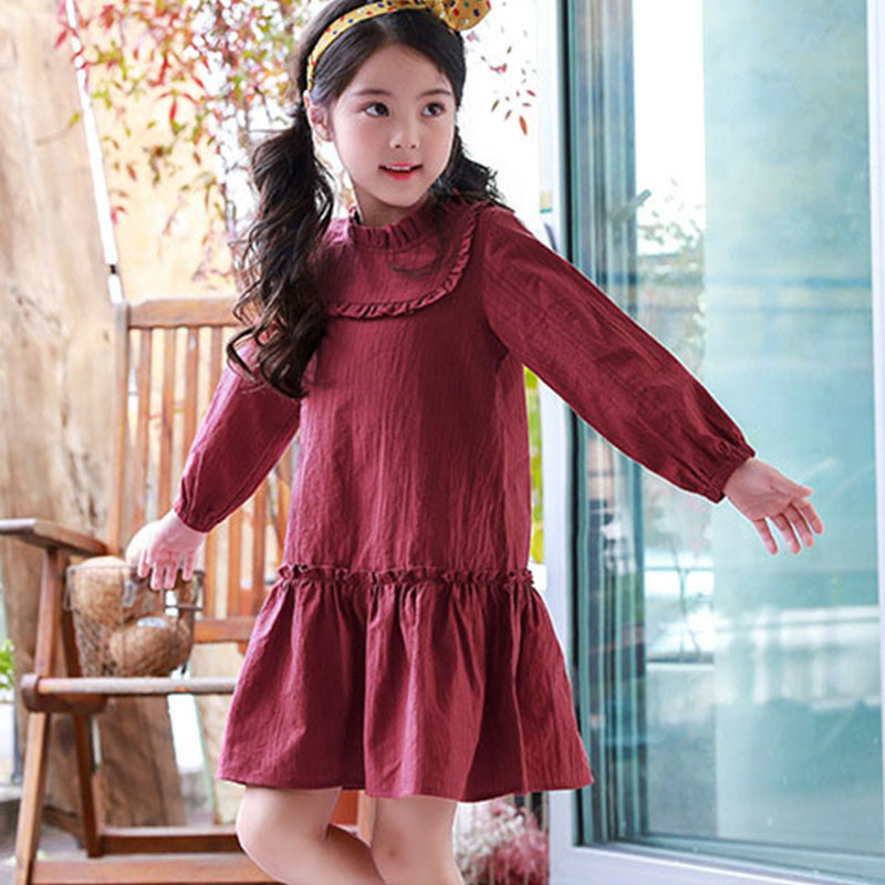 cotton ruffles girls dresses age 8 9 10 11 12 13 red kids girls princess dress with long sleeve 2018 new spring autumn clothes toddlers girls dots deer pleated cotton dress long sleeve dresses page 8