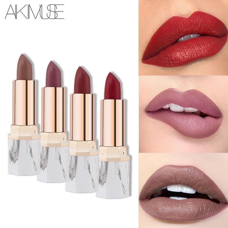 Us 425 Aliexpresscom Buy Aikimuse Marble Velvet Moisturizing Lipstick Waterproof Matte Lipstick Rouge Levre Mat Lips Kit Lip Balm Cream Makeup