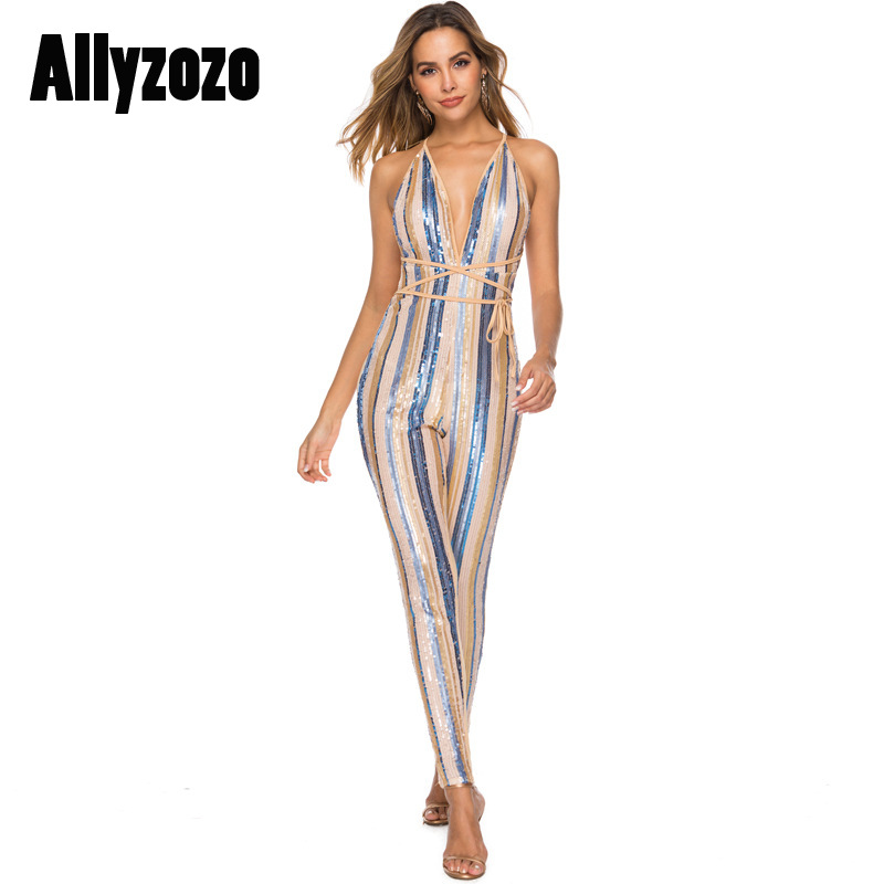 Allyzozo Women Fashion Sequin Striped Patchwork Backless Bandage Jumpsuits Sexy Deep V Neck Pantys Jumpsuit