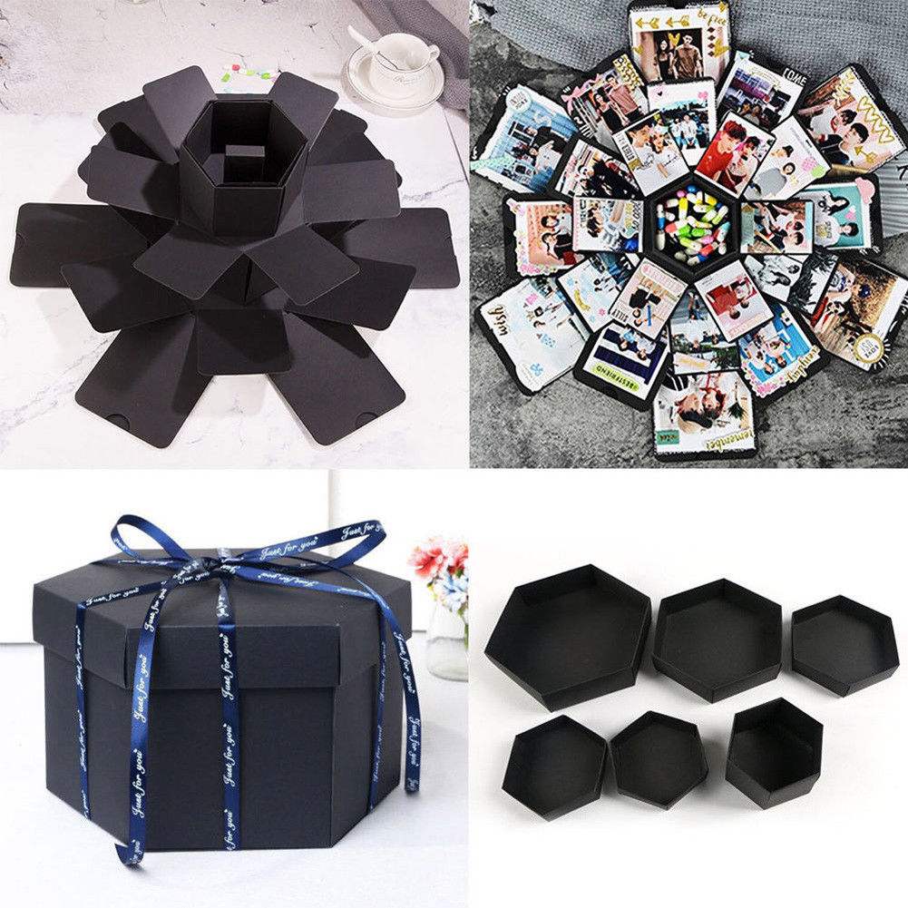 Photo-Album Scrapbook Explosion-Box Wedding-Gift Hexagon Surprise Valentine Boxes DIY