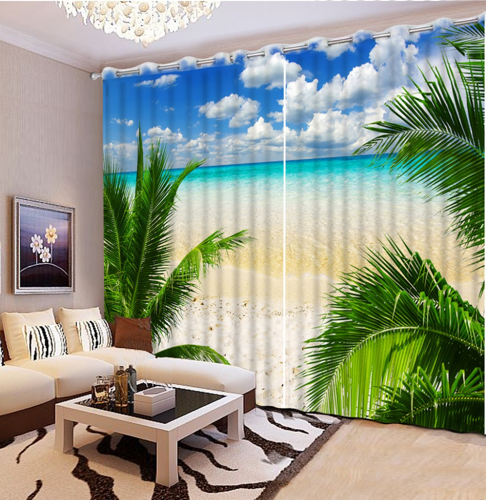 Home Bedroom Decoration Customize Size Beach Scenery Window Curtain Living  Room 3d Curtains Printed(China