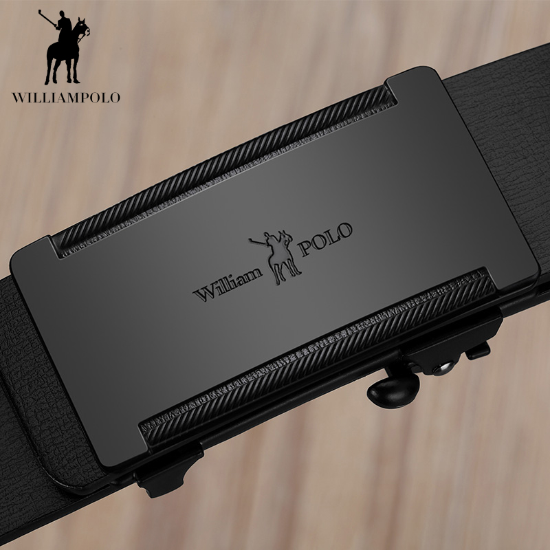 Image 5 - WILLIAMPOLO Slim Thin Belt Automatic Buckle Metal Fashion Men Real Leather Male Cowskin Belt Business Casual Gift for Husband-in Men's Belts from Apparel Accessories on AliExpress