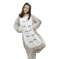 Cute Unisex Flannel Hoodie Pajamas Cosplay Costumes Totoro Animal Onesies Sleepwear for Men Women Adults Onesie Pajamas 2017 New